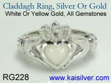 Claddagh white opal ring in white gold