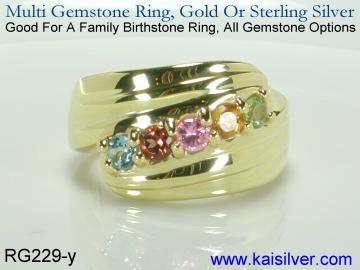 Personalized ring for mother, yellow or white gold