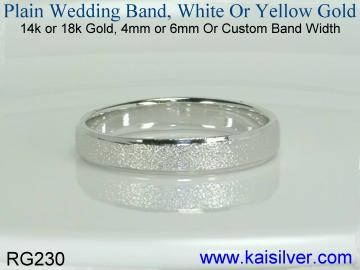 Custom made plain white gold wedding band. Yellow gold plain wedding bands are also available.