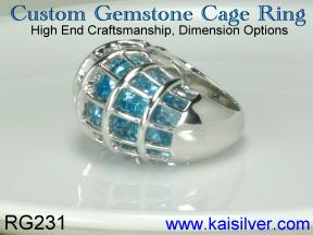 ring with many gems, custom cage ring in gold or sterling silver