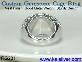 white gold blue topaz ring, designer topaz gem stone ring