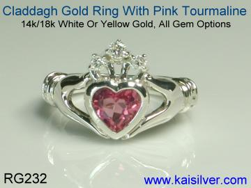 wedding claddagh ring with pink tourmaline