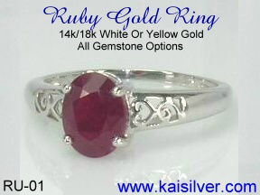 white gold engagement ring with ruby